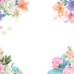 Watercolor rose flower collection