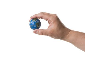 ミニチュアの地球を持つ手