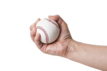 野球ボールを持つ手