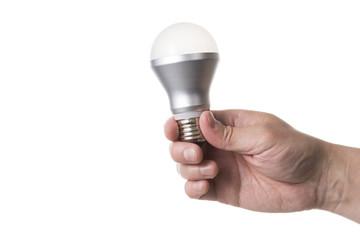 LED電球を持った手