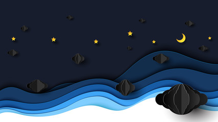 Night scenery with clouds,stars and crescent moon on midnight sky background paper art style design.Vector illustration.