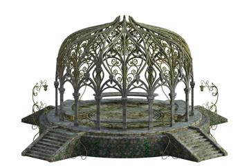 Beautiful garden pergola isolated on white, 3d render.