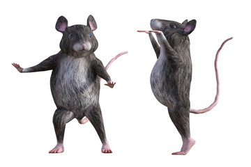Pair of cartoon mice isolated on white, 3d render