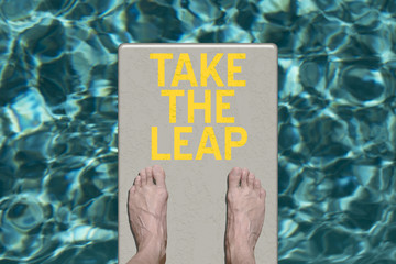 Swimming pool diving board with text Take the Leap