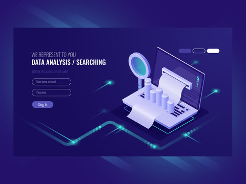 Data analysis, infromation serchning, data center query, search engine optimisation, concept site position result, laptop with paper bill magnifying glass isometric vector ultraviolet