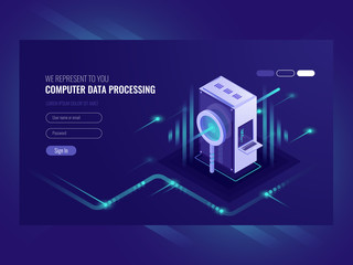 Computer data processing, search engine optimisation, server room, infromation technologies, data processing, web hosting isometric vector ultraviolet