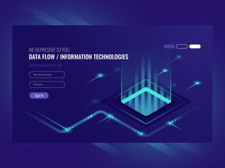 Data flow concept, information technologies, concept of hi tech isometric vector ultraviolet
