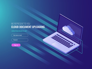 Cloud document uploading concept, clous server file copy and storage, clone work files, open laptop IT isometric 3d vector