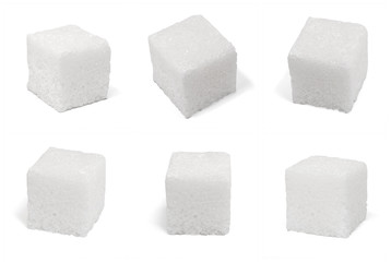 six 6 square cubes of sugar macro isolated on white Wall mural