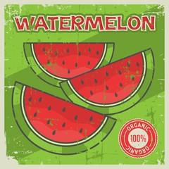 Watermelon Vintage Retro Signage Vector