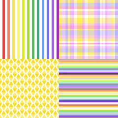 Set of seamless multicolored patterns. Checkered background. Abstract geometric wallpaper of the surface. Striped texture. Print for polygraphy, posters, t-shirts and textiles. Doodle for design