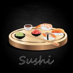 Various kinds of sushi served on wood desk black background.