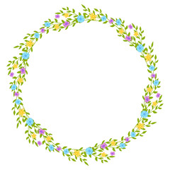 Wreath of wild flowers with leaves. A floral round frame with a place for your text.