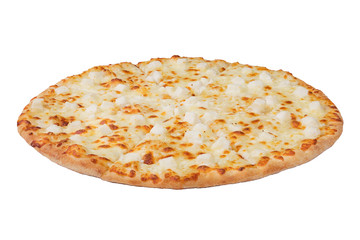 Delicious pizza isolated on white background with copy space