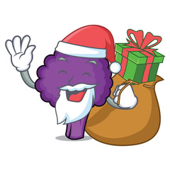 Santa with gift purple broccoli mascot cartoon