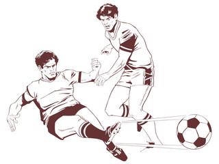 Soccer players. Stock illustration.