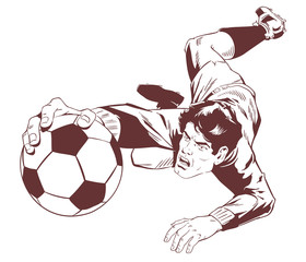 Goalkeeper catches soccer ball. Stock illustration.