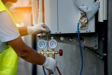 Air Conditioning Repair with Pressure Gauge and Air Purifier