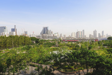 Cityscape and natural view of bangkok, Thailand, from high position in sunshine day