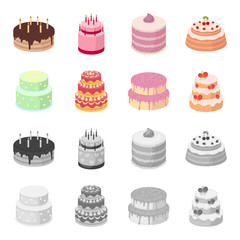 Sweetness, dessert, cream, treacle .Cakes country set collection icons in cartoon,monochrome style vector symbol stock illustration web.
