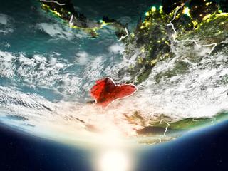 Ecuador with sun on planet Earth