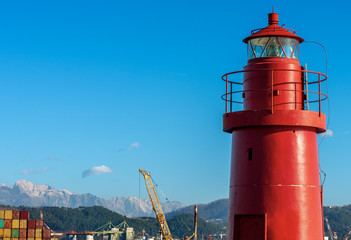Red Lighthouse in the Port - La Spezia Italy