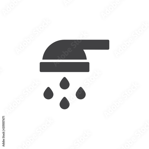 Shower Head And Water Drops Flowing Vector Icon Filled Flat Sign