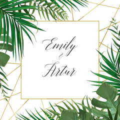 Wedding vector art floral invite invitation card design with watercolor style tropical forest palm tree green leaves, exotic greenery herbs & elegant golden frame decoration. Luxury botanical template