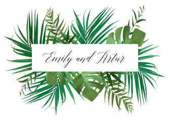 Wedding floral invitation, invite card. Vector watercolor style exotic palm tree green leaves, tropical forest greenery herbs, natural, botanical green decorative frame, border. Delicate layout design