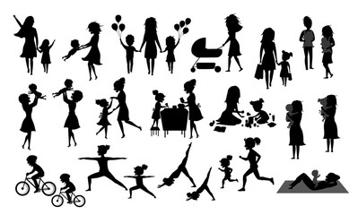 mother and children silhouette set, isolated vector illustration scenes in black color, mom with daughter son kids baby bake, play ride bike, make exercise sport run yoga dance hug kiss walk, shop