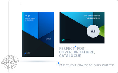 Material design template. Creative blue colourful abstract brochure set, annual report on black background