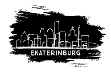 Ekaterinburg Russia City Skyline Silhouette. Hand Drawn Sketch.