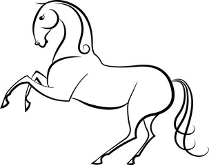 A line sketch of a horse execute the the element of the higher school of riding.