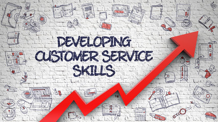 Developing Customer Service Skills on White Brick Wall. 3d