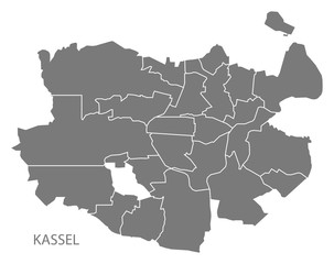 Kassel city map with boroughs grey illustration silhouette shape
