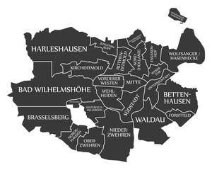 Kassel city map Germany DE labelled black illustration