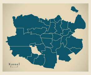 Modern City Map - Kassel city of Germany with boroughs DE