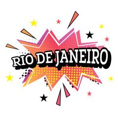 Rio de Janeiro Comic Text in Pop Art Style.