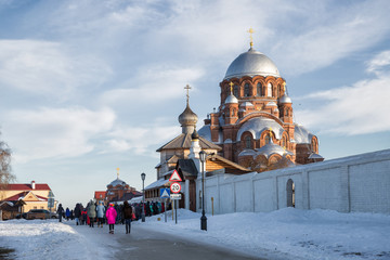 People go to the temple, Sviyazhsk, Russia