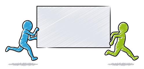 Blau-grüne Strichmännchen: Zwei laufende Geschäftsleute halten unbeschriftetes Schild / Schraffierte Vektor-Zeichnung