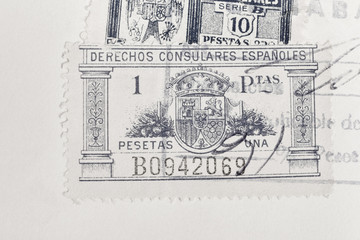 Antique spanish stamps with postmarks. Vintage historic philately. Postal
