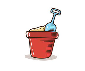 Sand bucket with spade shovel. Vector hand drawn doodle illustration. Retro style. Kids objects for summer and beach