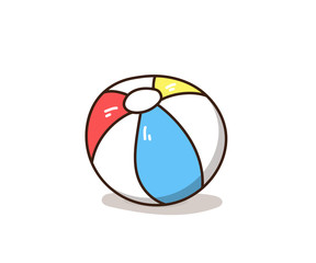 Hand drawn colourful beach ball doodle. Vector illustration graphic element