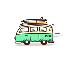 Surf van driving to the beach with surfboards on. Vector summer holidays doodle illustration. Hand drawn icon