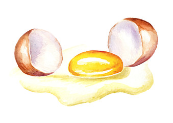 Broken egg. Watercolor hand drawn illustration  isolated on white background