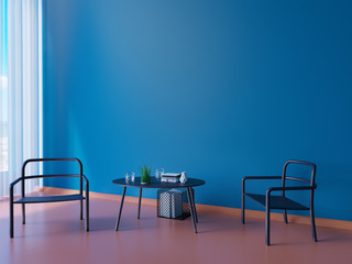 wide modern blue wallpaper and interior layout decoration 3d illustrator