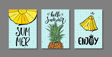 Vector set of bright summer cards with pineapple and hand drawn lettering