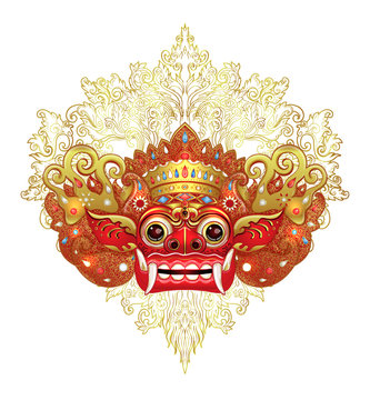 Barong. Traditional ritual Balinese mask. Vector color illustration in red, gold and black isolated. Hindu ethnic symbol, tattoo art, yoga, Bali spiritual design for t-shirt, textile.