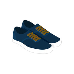 Pair of Blue Casual Sneaker Shoes Fashion Style Item Illustration