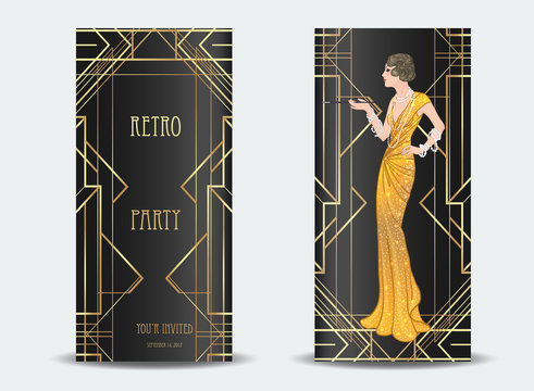 Art Deco vintage invitation template design with illustration of flapper girl. patterns and frames. Retro party background set (1920's style). Glamour event, thematic wedding or jazz party.